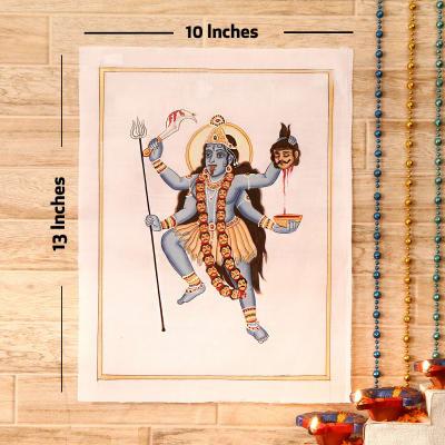 Mahakali Gold Idol Silk Painting