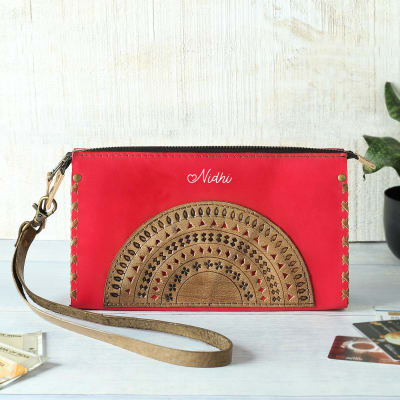Mandala Design Personalized Leather Pouch