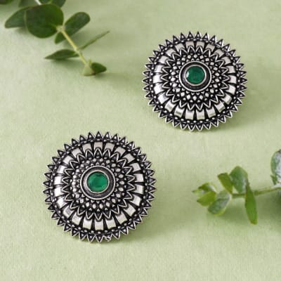 Mandala Inspired Green Stone Studs