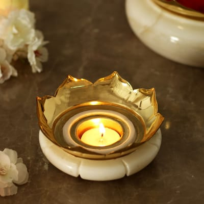 Marble Candle Stand in Brass Work