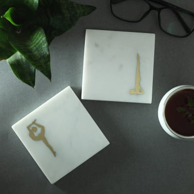 Marble Coasters with Yoga Designs in Brass (Set of 2)