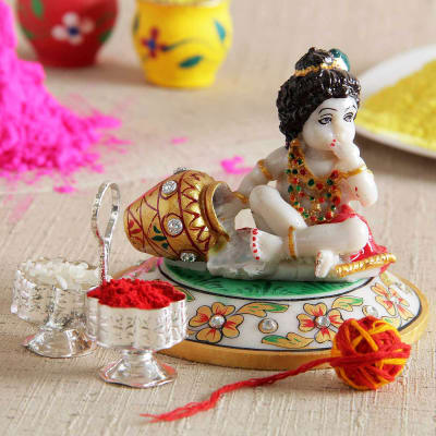 Marble Krishna Idol with Moli and Tikka