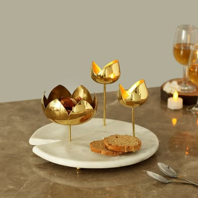 Marble Platter with Brass Candle Holders