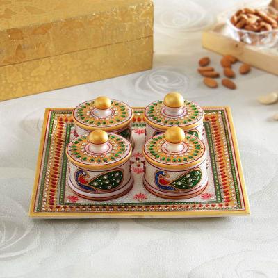 Marble Serving Set with Meenakari Work