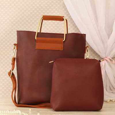 Maroon Gray Fashion Handbag With Matching Pouch