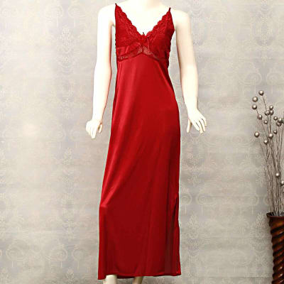 Maroon Satin Long Nightie With Lace Detailing