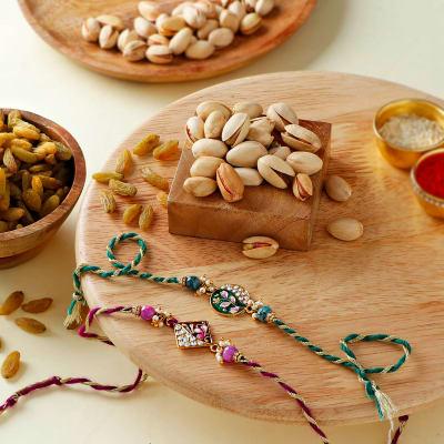 Meena CZ Rakhis With Dry Fruits