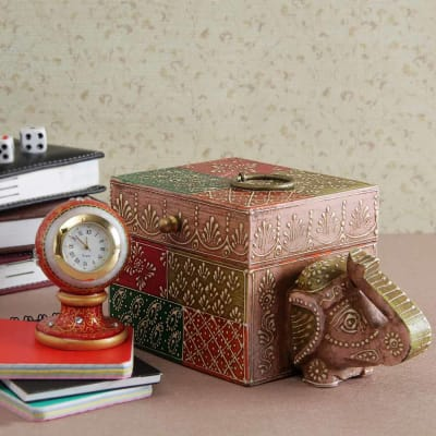Gifts for elderly couples buy online gifts for couples igp meena kundan work marble clock with elephant wooden embossed painted box negle Images