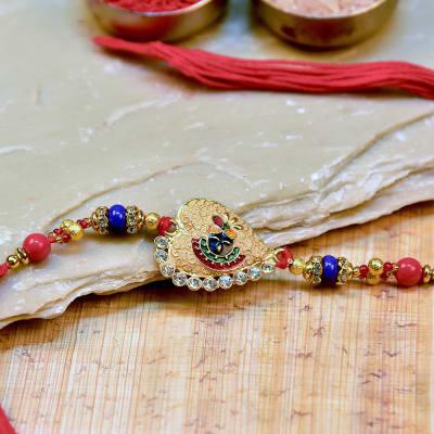 Meena Work Balaji Dial Metallic Rakhi