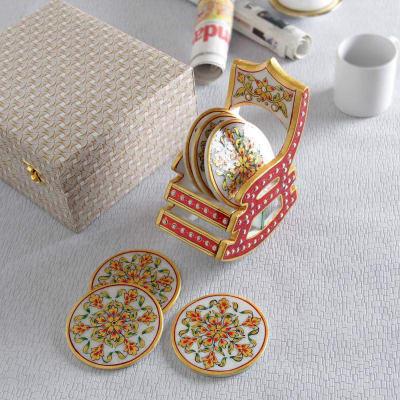 Meenakari Work Marble Coasters in Rocking Chair Style Holder