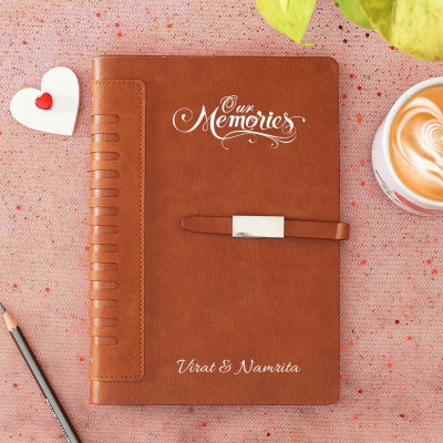 Memories Personalized Brown Leather Diary with Magnetic Flap