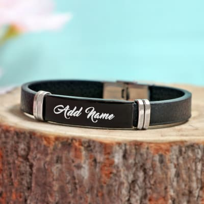 Men's Personalized Leather Bracelet with Metal Detailing