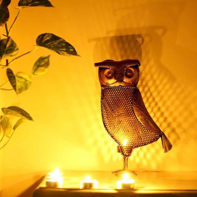 Metal Owl Shaped Designer Tea Light Holder