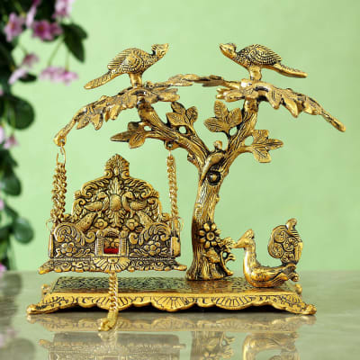 Metal oxidized Peacock on Tree Krishna Jhula