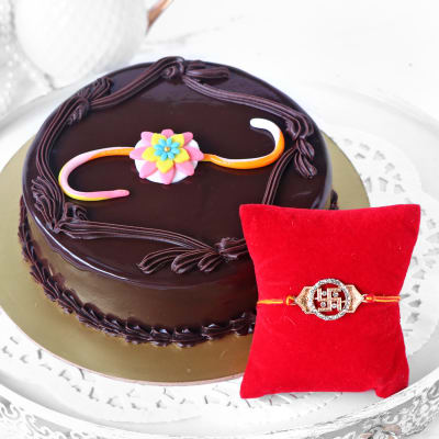 Metal Swastik Rakhi with Chocolate Cake (Half Kg)