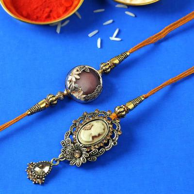 Metallic Bhaiya Bhabhi Rakhi in Victorian Design