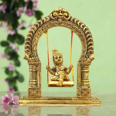 Metallic Oxidized Carving Bal Gopal Jhula