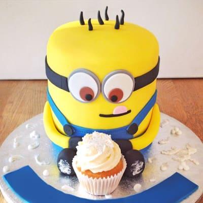Minion Cupcake Birthday Fondant Cake (Eggless) (5 Kg)