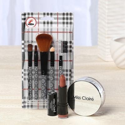 Miss Claire Compact Powder with Nude Lip Stick & 6 pcs Makeup Brush Set