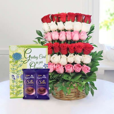 Birthday gifts for husband best birthday gift ideas for husband mix arrangement of 35 roses with cadbury bars greeting card negle Images