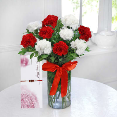 Mix Carnations with Rakhi