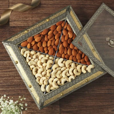 Mix Dry Fruits in Oxidized Wooden Metal Box