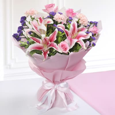 Mixed Flower Bouquet in Tissue Wrapping