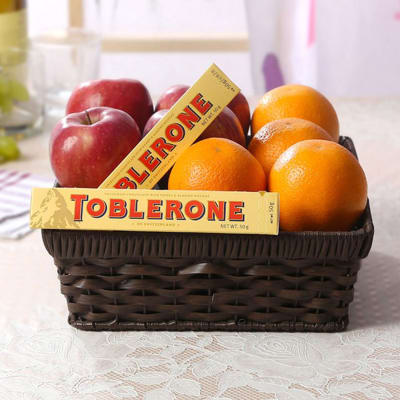 Mixed Fruit Basket with Toblerone Bars
