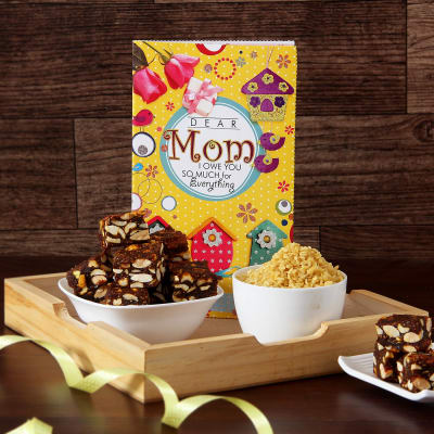 Mom greeting card with anjeer dryfruit sugarfree barfi and namkeen mom greeting card with anjeer dryfruit sugarfree barfi and namkeen in wooden tray negle Image collections