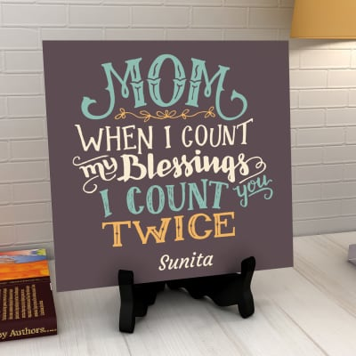 Mom Is a Blessing Personalized Tile with Stand