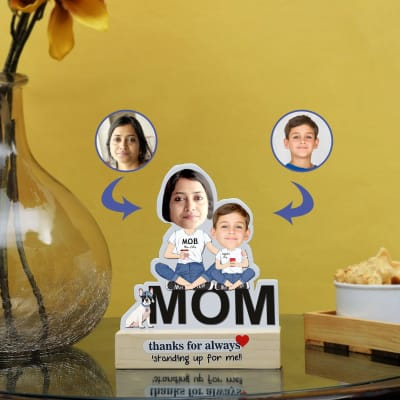 Mom Of Boy Personalized Caricature Stand