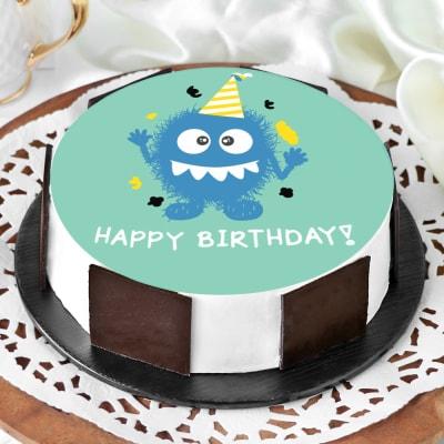 Monster Birthday Cake (Eggless) (1 Kg)