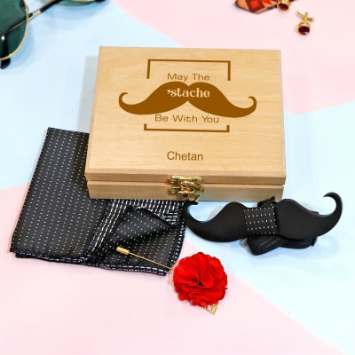 Moustache Bow Tie & Pocket Square in Personalized Wooden Box