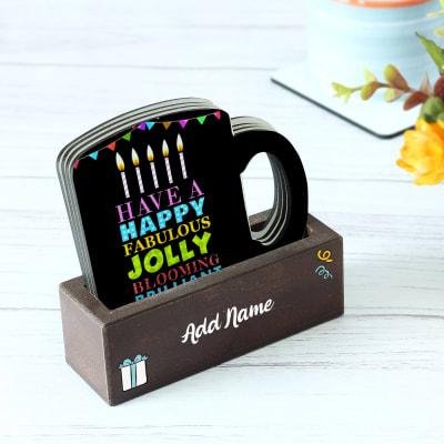 Mug Shaped Personalized Coaster Set for Birthday