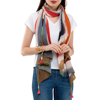 Multi-coloured Scarf with Tassels