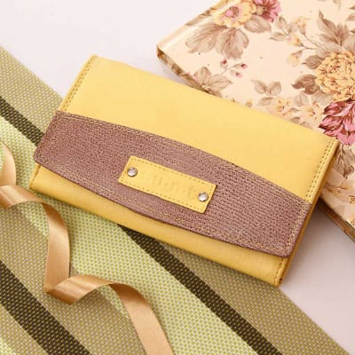 Multi Pocket Yellow Leather Wallet