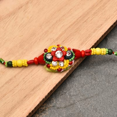 Multicolor Floral Stone Studded Rakhi