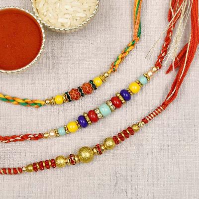 Multicolored Bead & Stone Studded Set of 3 Rakhi