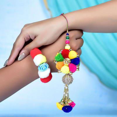 Multicolored Pom Pom Bhaiya Bhabhi Rakhi Set