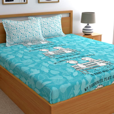 My Favourite Place Blue Cotton Bedsheet with Pillow Covers.