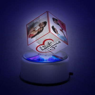 My Heart is Yours Rotating Crystal Cube with LED