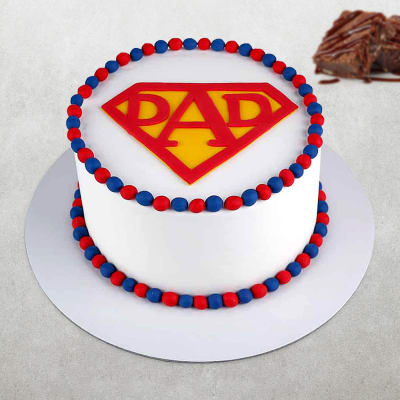 Cool Order My Super Dad Fondant Cake 2 5 Kg Online At Best Price Free Funny Birthday Cards Online Bapapcheapnameinfo