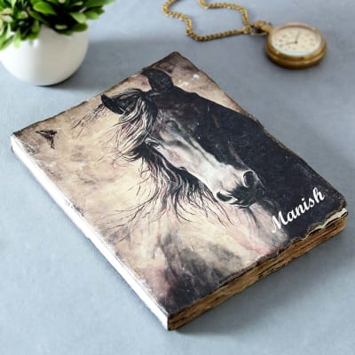 Name Personalized Horse Design Cover Handmade Diary