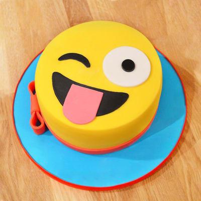 Naughty Wink Emoji Fondant Cake (4 Kg)
