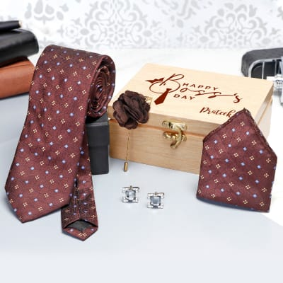 Necktie Set in Personalized Gift Box for Boss's Day