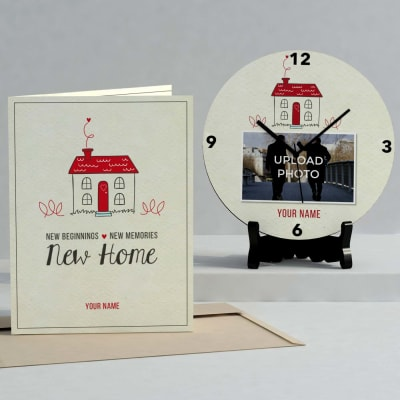 New Beginnings Personalized Clock & Card combo for House Warming