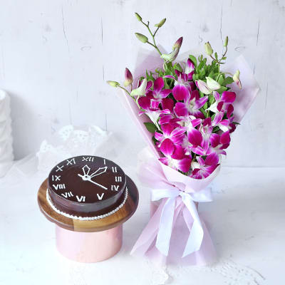 New Year Gift - Orchids with Half Kg Chocolate Cake