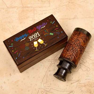 New Year Wishes Telescope in Sheesham Wooden Box
