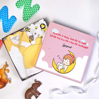 Night Time Apparels Set for Newborn in Personalized Gift Box (3 Pcs)