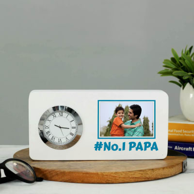 No.1 Papa Personalized Table Clock